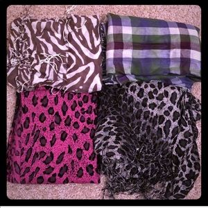 Gently used Express and Limited set of 4 scarves